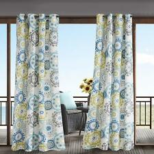 Indoor Outdoor Modern Blue Gray Medallion Grommet Curtain Panel Cabana Privacy