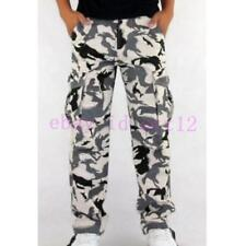 Men's White Camouflage Camo Cargo New  Fashion Casual Military Combat Work Pants