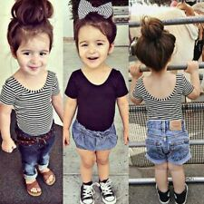 Infant Baby Kids Girls Summer Short Sleeve Cotton Casual T-shirts Tops Clothes