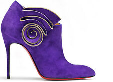 $1395 NEW Christian Louboutin MRS Baba 100 Ankle Boots Purple Suede Shoes 40