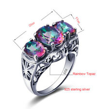 Real Rainbow Topaz Engagement Jewelry 925 Sterling Silver Handmade Ring
