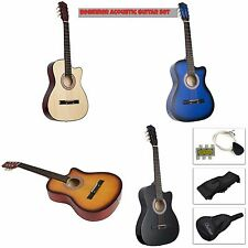 Beginner Acoustic Guitar High Quality w/ Case & Strap & Tuner & Pick Strings NEW