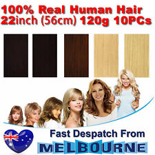Clip In Remy Real Human Hair Extensions 22inch 120g Full Head on Black Blonde Br