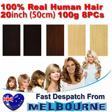 Clip In Remy Real Human Hair Extensions 20inch 100g Full Head on Black Blonde Br