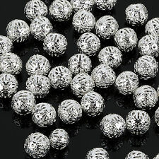 4/6/8/10mm SILVER PLATED FILIGREE Spacer Metal Beads Jewelry Making Tool