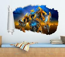 Bumblebee Transformers 3D Torn Hole Ripped Wall Sticker Decal Mural Art WT11