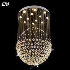 Staircase LED Crystal Chandeliers Lighting Fixture Foyer Ball Rain Drop Light
