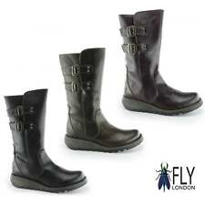 Fly London SULI Ladies Womens Leather Casual Zip Up Mid Calf Wedge Heel Boots