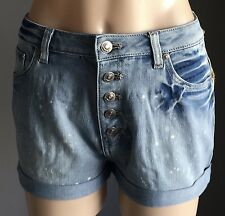 NWT Faded Blue SINCE JANE High Rise Button Fly Denim Shorts Sizes 8, 10 & 12