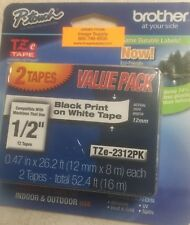"Brother P-Touch TZE2312PK 2 Pack TZe-231 TZ231 1/2"" Black on White Label Tape"