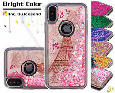 Apple iPhone X Bling Hybrid Quicksand Liquid Glitter Rubber Silicone Case Cover