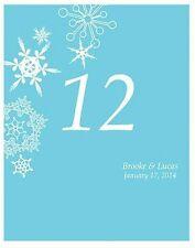 Winter Finery Personalized Snowflake Wedding Table Numbers Cards Set Q17035