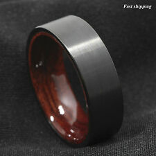 8mm Black Brushed Tungsten Red Sandal Wood Inlay Wedding Band Ring Men's Jewelry