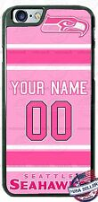 SEATTLE SEAHAWKS PINK PHONE CASE COVER WITH YOUR NAME & # FOR iPHONE SAMSUNG