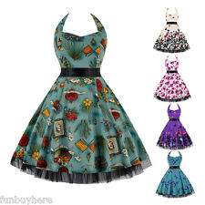 ZAFUL HALTER 50s 60s ROCKABILLY RETRO VINTAGE HALTER FLORAL PROM PARTY DRESS