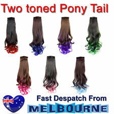 Two Tonned Dip Dye Ombre celebrity Curly Wrap Around Ponytail Hair Extensions