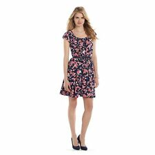 LC Lauren Conrad Pleated Fit & Flare Dress size M FLORAL PRINT