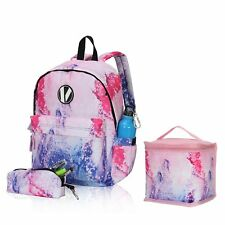 Girl School 3PC Set Backpack with Pencil Case Picnic Thermal Insulated Lunch Bag