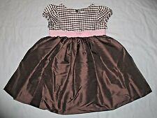 NWT Gymboree Celebrate Spring 100% Silk Bow Gingham Brown Silk Dress Girls 3T