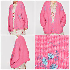 ZARA NEW AW17 CARDIGAN WITH JEWEL APPLIQUES PINK 9598/108
