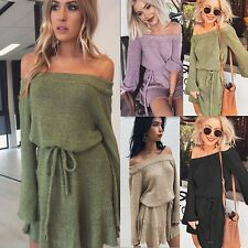 Womens Off Shoulder Knit Long Sleeve Lace Up Mini Sweater Dress Casual Sundress