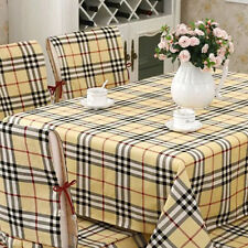 Plaid Linen Tablecloth Vintage Napkins Thicken Cotton Table Cover Wedding Party
