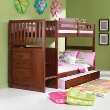 Donco Twin over Twin Stairway Bunk Bed - Merlot
