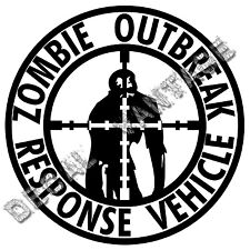 Zombie Outbreak Response Vehicle Crosshairs Vinyl Sticker Decal - Size Color