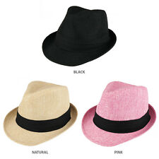 Kid's Summer Woven Fedora Hat with Black Hat Band - FREESHIP