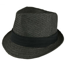 Youth Size Paper Straw Inner Elastic Fedora with Hat Band - FREESHIP