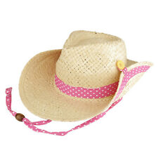 Kid's Roll Up Brim Straw Cowboy Hat with Dotted Band