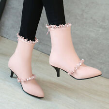 Women High Heel Stiletto Mid-Calf Boots Pointed Toe Zip Ruffles Shoes Winter