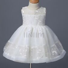 Baby Girl Infant Christening Tutu Dress Lace Embroidered Baptism Dress Prom Gown