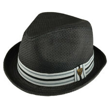 Men's Summer Straw Upturned Brim Fedora with Grosgrain Hat Band - Free Shipping