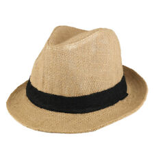 Raw Straw Summer Fedora Hat with Black Band  - Free Shipping