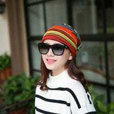 Beanies Cap Thick Caps Knit Hat Baggy Women Winter Hats Chic Stripes Cap NEW