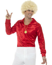 Mens 60s 70s Groovy Dude Red Disco Shirt Costume