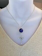 Lapis Lazuli Bead Antique Silver Rose Cross Necklace Stainless Chain 16,18, 20in