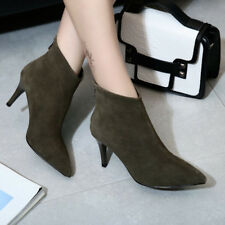 Women High Heel Ankle Boots Pointed Toe Ladies Winter Sexy Shoes Black Stiletto