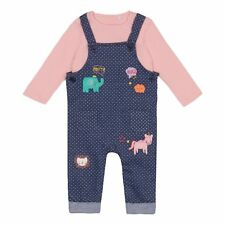Bluezoo Kids Baby Girls' Navy And Pink Top, Dungarees Set From Debenhams