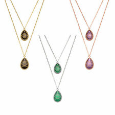 Rhodium or Gold Plated Silver Hand Wrapped Bi-Layered Teardrop Pendant Necklace