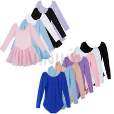 Girl Kids Long Sleeve Ballet Dance Dress Leotard Children Dancewear Costume 3-12