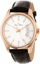 Lucien Piccard 98660-RG-02S Mens Excalibur Silver Textured Dial Brown Leather