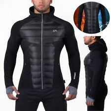 Mens Winter Warm Muscle Brothers Workout Patchwork Hoodie Coat Gym Sport Jacket