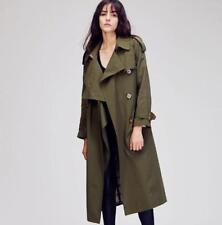 Womens Long Loose Casual Windbreaker Double Breasted Trench Coat Jacket Parka