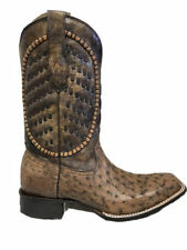 Corral Men's Ostrich Inlay Woven Square Toe Cowboy Boot A3389
