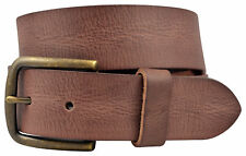 Vintage Full Grain Buffalo Leather Solid 1-Piece Belt w/ Brass Buckle - Brown
