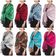 """Two Tone Floral Roses Reversible Pashmina Scarf Shawl Wrap Stole 78"""" x 27"""""""