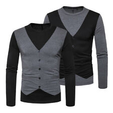 New Mens Slim Fit Long Sleeve Fake Two Pieces Crew-Neck Casual T-Shirt Tee Tops