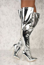 Women Metallic Mirror Pointy Toe Thigh High Heel Over The Knee Boots Silver